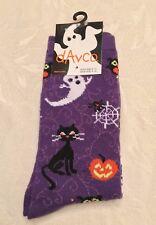 Womens DAVCO Size 9-11 Purple GHOSTS BLACK CATS JACK O'LANTERN Halloween SOCKS