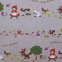 1m Little Red Riding Hood - Ash fabric PER METRE Kokka Japan fairytale animal nu