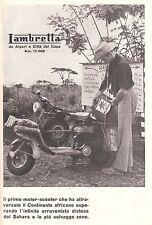PUBBLICITA' 1953 LAMBRETTA MOTO SCOOTER INNOCENTI RAID ALGERI CITTA' DEL CAPO