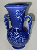 Vintage 1940's Shawnee Pottery Handled Vase Cobalt Blue Embossed Daisy USA