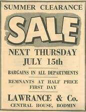 1954 Lawrance And Co Central House Bodmin Ad