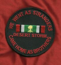 WE WENT AS STRANGERS CAME HOME AS BROTHERS DESERT STORM BIKER MILITARY PATCH RED