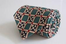 GANT Silk Tie. Green w Red & White Boxed Floral