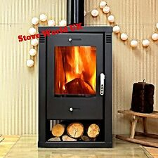 Noriko BLACK 9kw Contemporary Modern Woodburning Stove Stoves Woodburner Steel