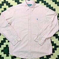Polo Ralph Lauren Men's Button Down Shirt L Pink White Checkered CUSTOM FIT L