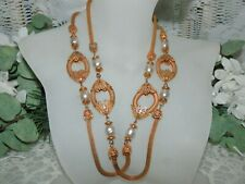 Stylish Miriam Haskell Russian Gold & Baroque Pearl Station Necklace