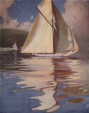"""'Yacht """"Kariad"""" Passing """"The Cloch"""" Lighthouse' by John Young-Hunter 1907"""