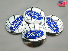 "4x 56mm 2.2"" Auto Car Wheel Center Cap Emblem Decal Sticker for Ford Chrome"