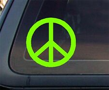 Peace Sign Car Decal / Sticker - Lime Green