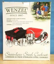 Wenzel 22 Piece Camping Cookware Set 4 person Stainless Steel Mes set