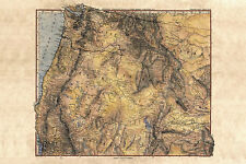 """Historic Vintage hand painted reproduction map 42x50"""" Pacific Northwest"""