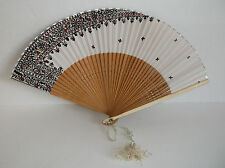 Vintage Silk Fan Wooden Sticks