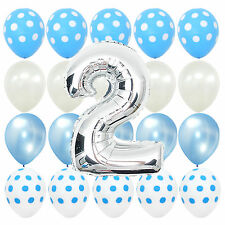 Second Birthday Blue Polka dot Baby 2nd b-day Party Balloons Bouquet Decorations