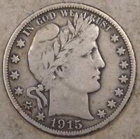 1915-D Barber Half Dollar Nice Original F