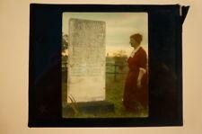 Magic Lantern Slide Indian Trail Mrs Beggs at Grave of Jason Lee M E Church