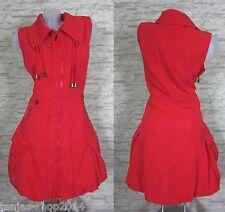 NEU Lange Weste Kleid Tunika Longshirt Rot Gr 50 (R730N) GLAMZ FRANSTYLE