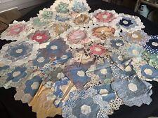 Lot Of 40 Vintage Hand Pieced Feedsack Fabric Flower Garden Quilt Blocks