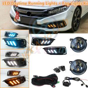 Chrome LED DRL Daytime Running Light LED Fog / Harness For Honda Civic 2019~2021