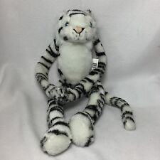 Northeast Imports Black White Striped Blue Eyes Tiger Plush Hanging Soft Toy 15""
