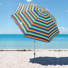 Tommy Bahama Beach Umbrella 8ft 2.1m Parasol UPF 100+ with Sand Anchor Carrycase