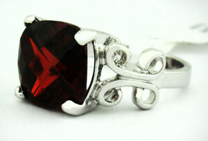 GARNET 6.85 Cts RING SILVER PLATED ** New With Tag ** Size 7.25