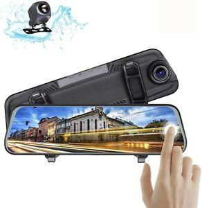 10 IN Car Camera Dual Lens FHD 1080P Dash Cam DVR Rearview Mirror Backup Camera