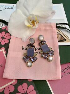Gorgeous KATE SPADE NY Glitzy Spritz Purple Drop Lilac Chandelier Earrings Gold