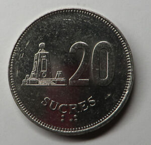 Ecuador 20 Sucres 1991 Nickel Clad Steel KM#94.2 UNC