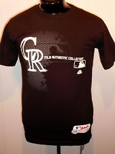 COLORADO ROCKIES  MEN'S T SHIRT S BLACK MAJESTIC BASEBALL S. SLEEVE COTTON NWOT