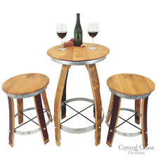 WINE BARREL PUB SET Rustic SWIVEL TOP STOOLS Furniture Bar Bistro FREE SHIPPING!