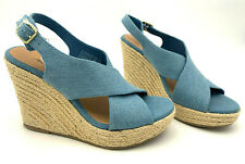 American Eagle Women's Wonder Merveille Denim Strap Wedge Sandal Size 7.5
