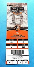 Baltimore Orioles Vs Tampa Bay Rays 2012 MLB Ticket w/Stub Thursday 7/26/2012