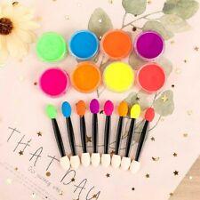 8Pcs / Set Unghie Polvere Neon Pigmento Glitter Gradiente Iridescente Acrilico
