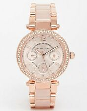 NEW MICHAEL KORS MK6110 ROSE GOLD BLUSH CRYSTALS MINI PARKER WATCH 2 Y WAR