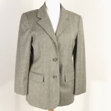 7a4b7f57835c American Petite Jacket 10P Lord Taylor Lt Brown Herringbone Tweed Wool Blend