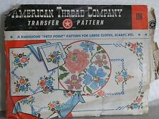 Vtg Amerian Thread Company Transfer Pattern #116 Petit Point Embroidery Craft