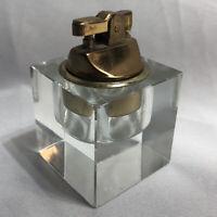 Vintage Penguin Lighter Clear Cut Glass Cube Mid Century Modern Tobacciana