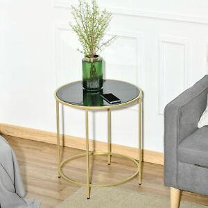 Round Side Table w/ Tempered Glass Tabletop, for Living Room, Bedroom