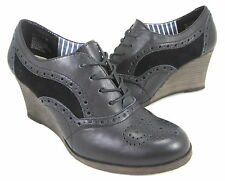 HUSH PUPPIES WOMEN'S TYRO OXFORD WEDGE PUMP BLACK LEATHER US SZ 6.5 MEDIUM (B)M
