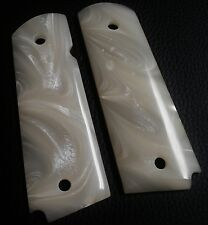 1911 Colt & Clones CUSTOM GUN GRIPS Slim Line Full size White Mother of Pearl