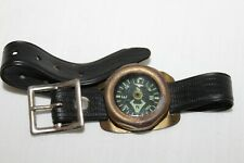 VINTAGE~Wrist COMPASS~Germany~LIQUID FILLED~Brass~PLASTIC BAND~Black Face & Band