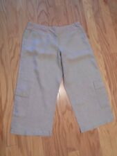 EILEEN FISHER Wide Leg ANKLE PANTS Natural 100% ORGANIC LINEN Relaxed Fit LARGE