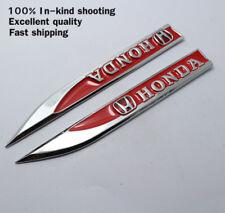 2 Honda Badge Fender Side Wing Metal Sticker 3D Logo Decal Emblem Red