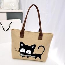 Fashion Women Shoulder Bag Ladies Canvas Bag Cute Cat Bag Office Lunch Bag Tote