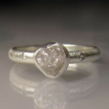 Rough Natural Diamond Engagement Ring Palladium Sterling Silver Size 6 1/4