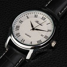 Classic Roman Numerals Men's Leather Luxury Analog Quartz AUTO Date Wrist Watch