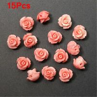 15Pcs Pink Shell Carved Rose Flower Loose Beads Gemstone DIY Jewelry Craft