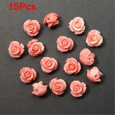 15Pcs Pink Shell Carved Rose Flower Loose Beads Gemstone DIY Jewelry Craft 10mm
