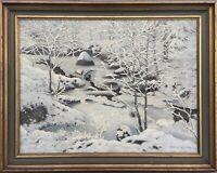 Verschneite Winterlandschaft mit Bach Schweden Calle Nyland *1907 54,5 x 68 cm