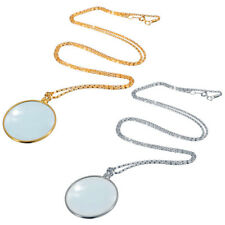 FT- Useful Monocle Lens Necklace W/ 5x Magnifier Coin Magnifying Glass Pendant H